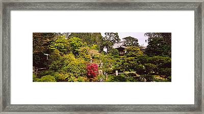 Cottage In A Park, Japanese Tea Garden Framed Print by Panoramic Images
