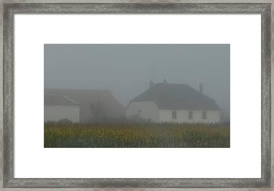 Cottage In Mist Framed Print