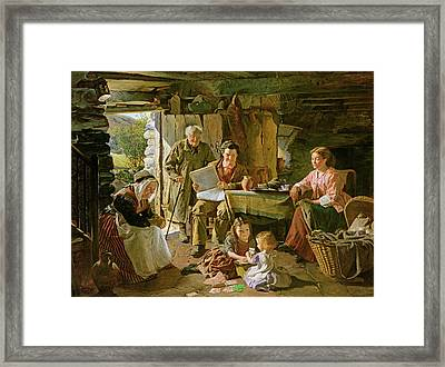 Cottage Interior, 1868 Oil On Canvas Framed Print by William Henry Midwood