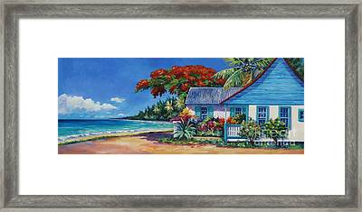Cottage On 7-mile Beach Framed Print by John Clark