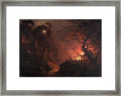 Cottage On Fire At Night Signed And Dated Framed Print
