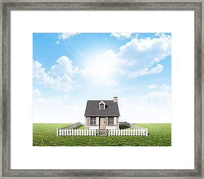 Cottage On Green Lawn Framed Print