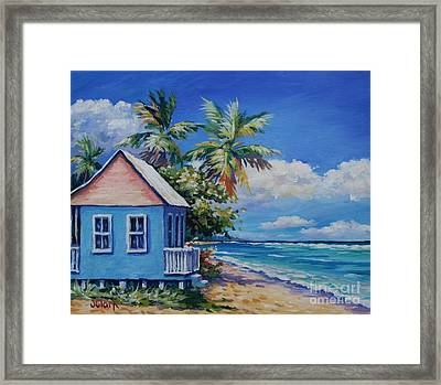 Cottage On The Beach Framed Print by John Clark