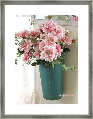Cottage Shabby Chic Hanging Basket Pink Flowers Framed Print by Kathy Fornal