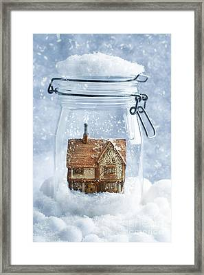 Cottage Snowglobe Framed Print