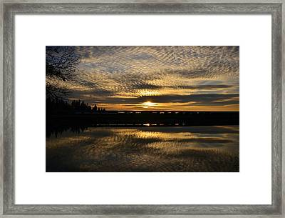 Cotton Ball Clouds Sunset Framed Print