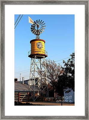 Cotton Belt Route Water Tower In Grapevine Framed Print by Kathy  White