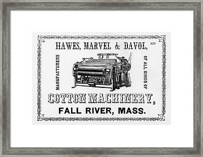 Cotton Machinery Advertisement Framed Print