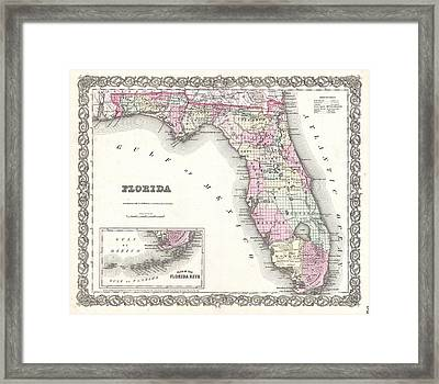 Cotton Map Of Florida 1855 Framed Print by Suzanne Powers