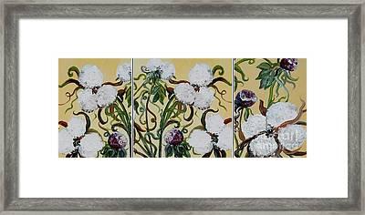 Cotton Triptych Framed Print by Eloise Schneider