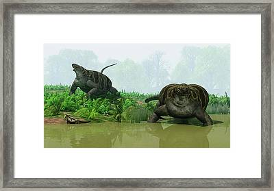 Cotylorhynchus Synapsids Framed Print by Walter Myers