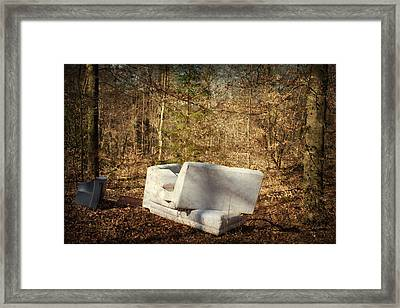 Couch And Tv In The Forest Framed Print by Matthias Hauser