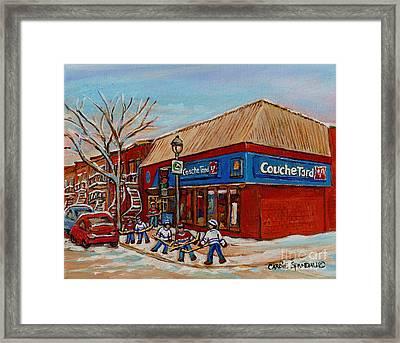 Couche Tard Rue Wellington Verdun Street Scene Montreal Hockey Art Carole Spandau Framed Print by Carole Spandau