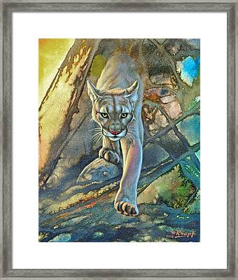 'cougar In Abstract' Framed Print by Paul Krapf