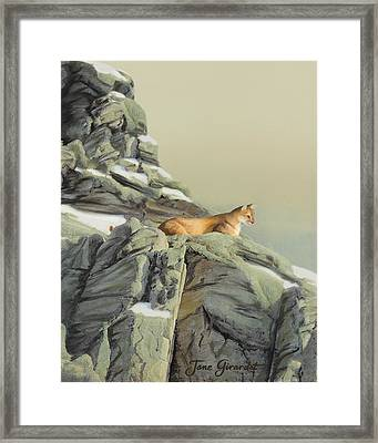 Framed Print featuring the painting Cougar Perch by Jane Girardot