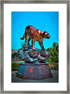 Cougar Pride Sculpture - Washington State University Framed Print