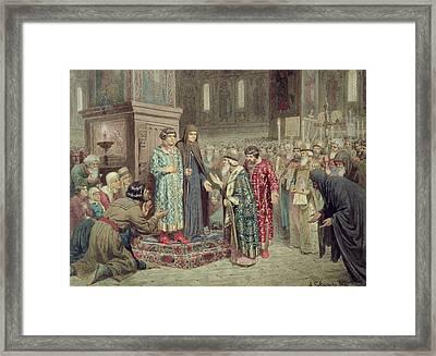 Council Calling Michael F. Romanov 1596-1645 To The Reign, 1880 Wc On Paper Framed Print by Aleksei Danilovich Kivshenko