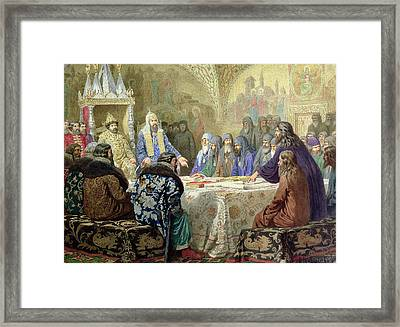 Council In 1634 The Beginning Of Church Dissidence In Russia, 1880 Wc On Paper Framed Print by Aleksei Danilovich Kivshenko