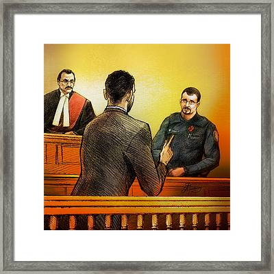 Counsel Harval Bassi Questions A Witness Framed Print