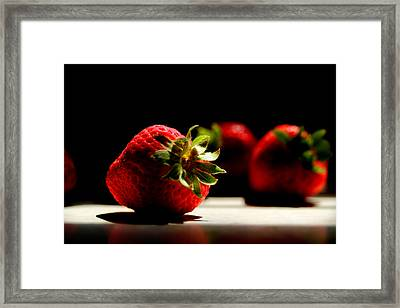 Countertop Strawberries Framed Print