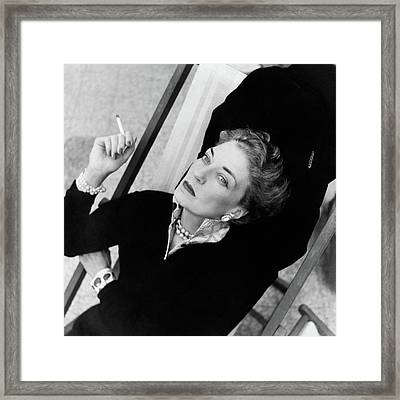 Countess Bismarck Smoking In Capri Framed Print