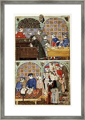 Counting House, 14th-century Manuscript Framed Print