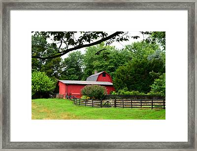 Framed Print featuring the photograph Country Barn Vineyard by Cathy Shiflett