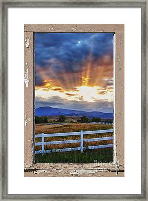 Country Beams Of Light Pealing Picture Window Frame Vie Framed Print
