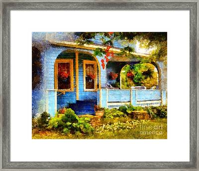 Country Blue Autumn Porch Framed Print