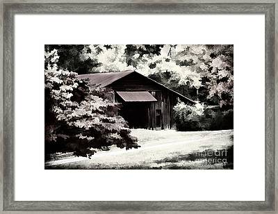 Country Charm In Dramatci Bw Framed Print