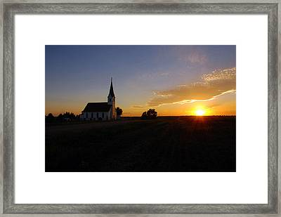 Country Church At Sunset  Framed Print