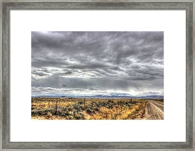 Country Church Country Road Country Storm Framed Print by Vikki Correll