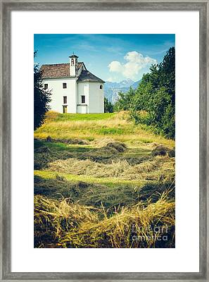 Framed Print featuring the photograph Country Church With Hay by Silvia Ganora