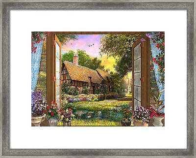 Framed Print featuring the drawing Country Cottage View by Dominic Davison