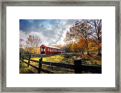 Country Covered Bridge Framed Print by Debra and Dave Vanderlaan