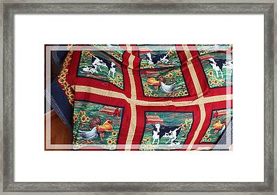 Country Cows And Roosters Quilt Framed Print by Barbara Griffin