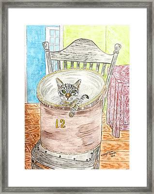 Country Crock Cat Framed Print