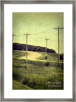 Country Dirt Road And Telephone Poles Framed Print by Jill Battaglia