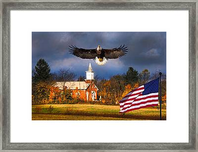 country Eagle Church Flag Patriotic Framed Print by Randall Branham