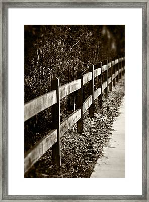 Country Fence Sepia Framed Print