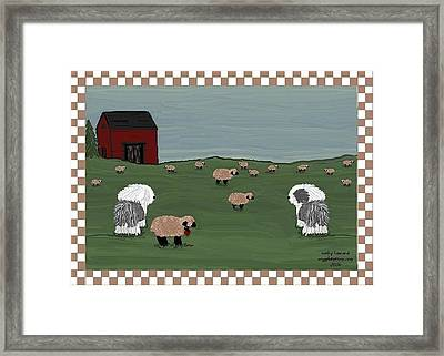 Country Field Sheepdogs Framed Print