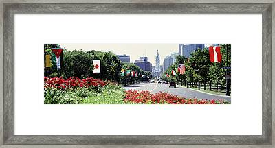 Country Flags On Trees Along Martin Framed Print