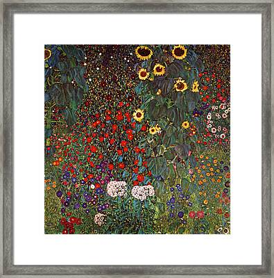 Country Garden With Sunflowers Framed Print by Celestial Images