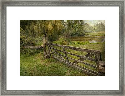 Country - Gate - Rural Simplicity  Framed Print by Mike Savad