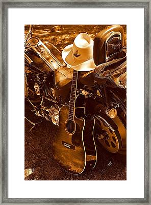 Framed Print featuring the photograph Country Harleys by Karen Kersey