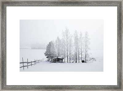 Country Home For Winter Framed Print