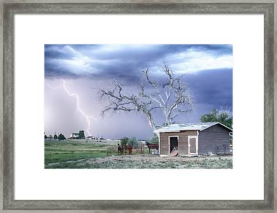 Country Horses Lightning Storm Co   Framed Print