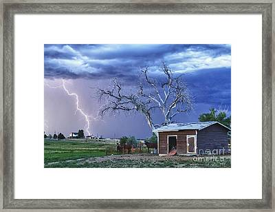 Country Horses Lightning Storm Ne Boulder County Co Hdr Framed Print