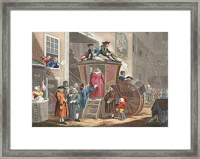 Country Inn Yard, Illustration Framed Print by William Hogarth
