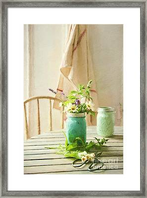 Country Kitchen With Wild Flowers In Jar/ Digital Painting Framed Print by Sandra Cunningham